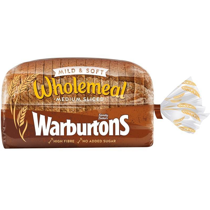 WARBURTONS WHOLEMEAL THICK SANDWICH BREAD 800G