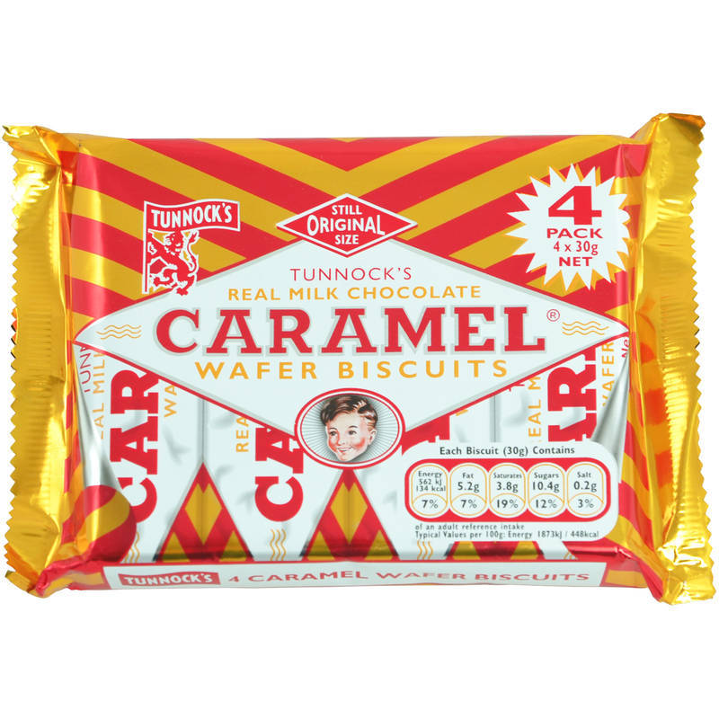 TUNNOCK'S CHOC CARAMEL WAFERS 4PACK