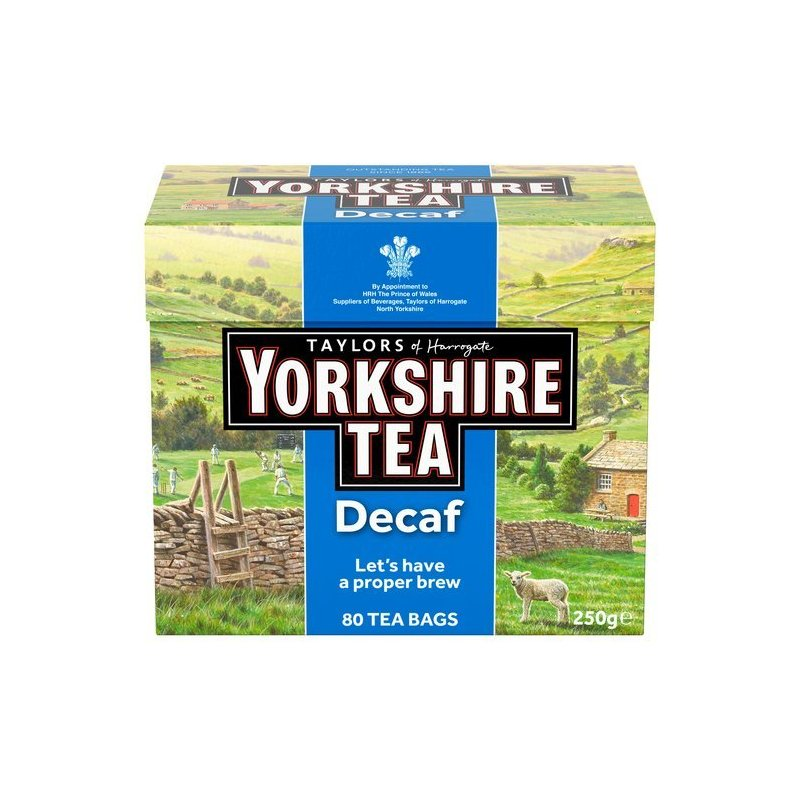 YORKSHIRE DECAF TEABAGS 80'S