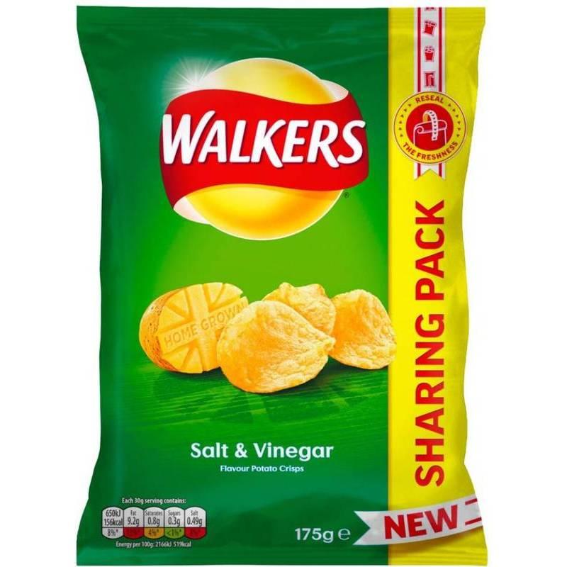 WALKERS SALT & VINEGAR CRISPS 175G