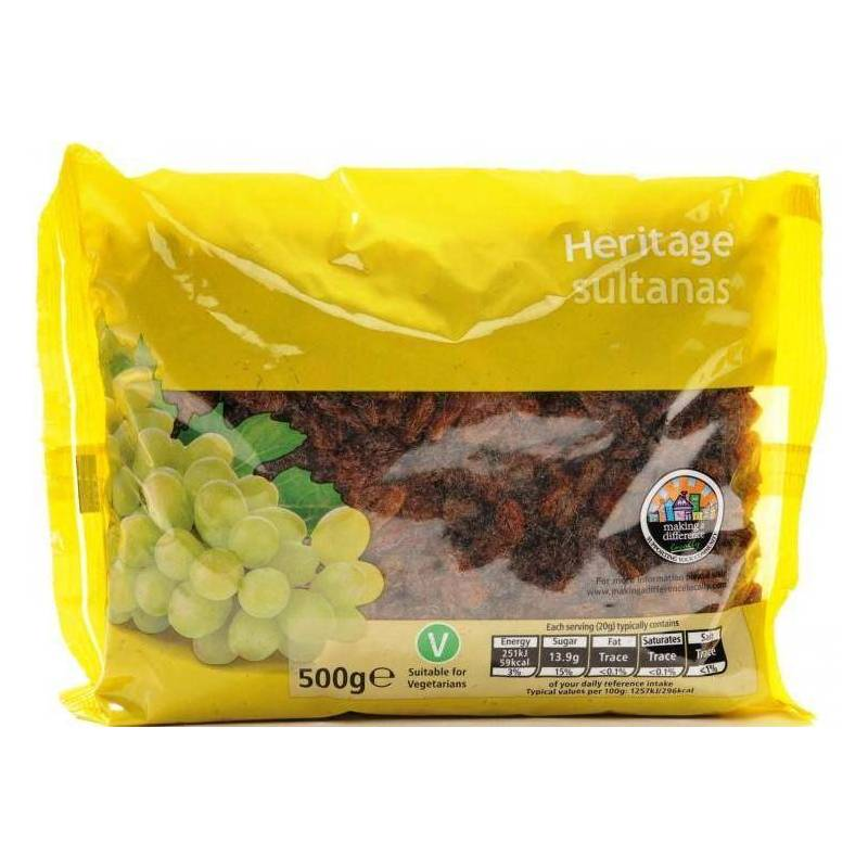 HERITAGE SULTANAS 500G best by 10/2020