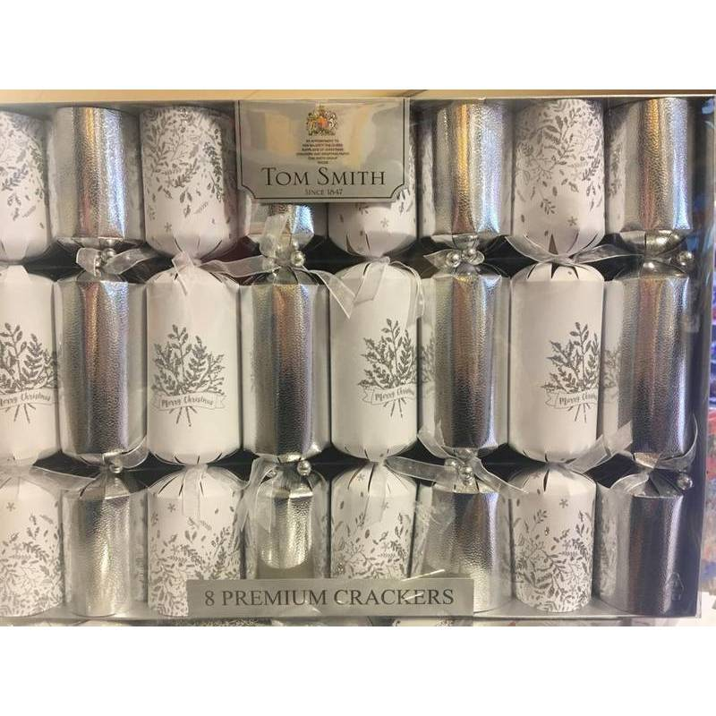 CHRISTMAS - SILVER & WHITE CRACKERS (8)
