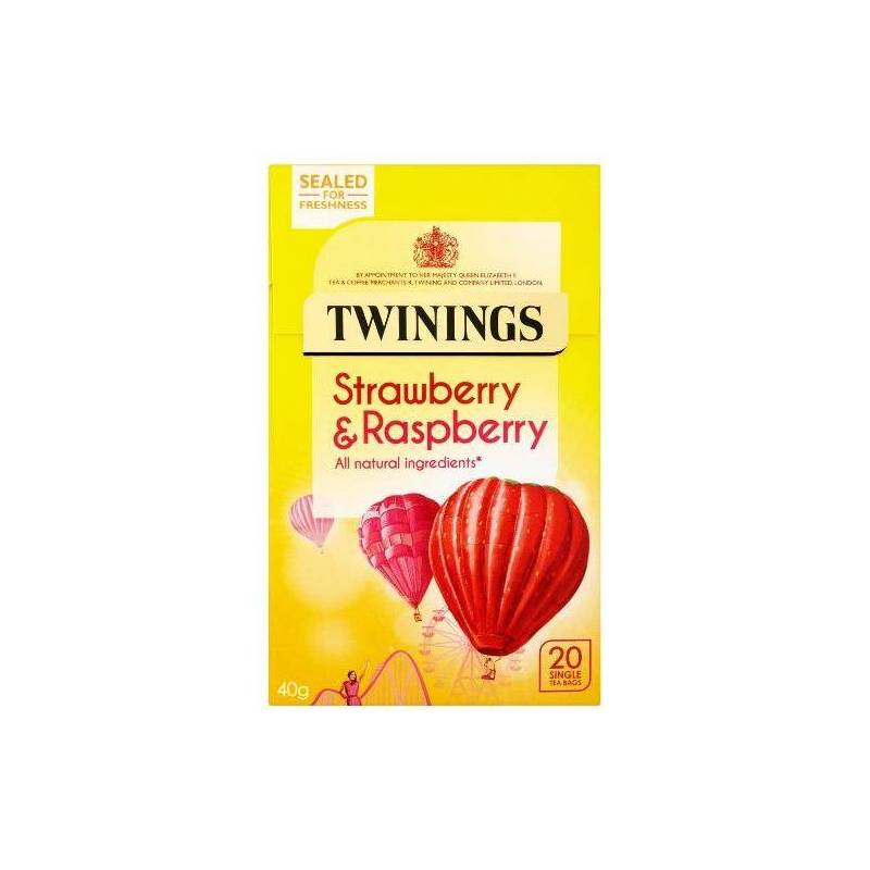 TWININGS STRAWBERRY & RASPBERRY HERBAL TEA 20s