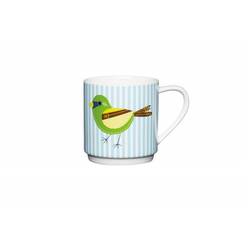 KITCHENCRAFT BLUE STRIPE BIRD STACKING MUG