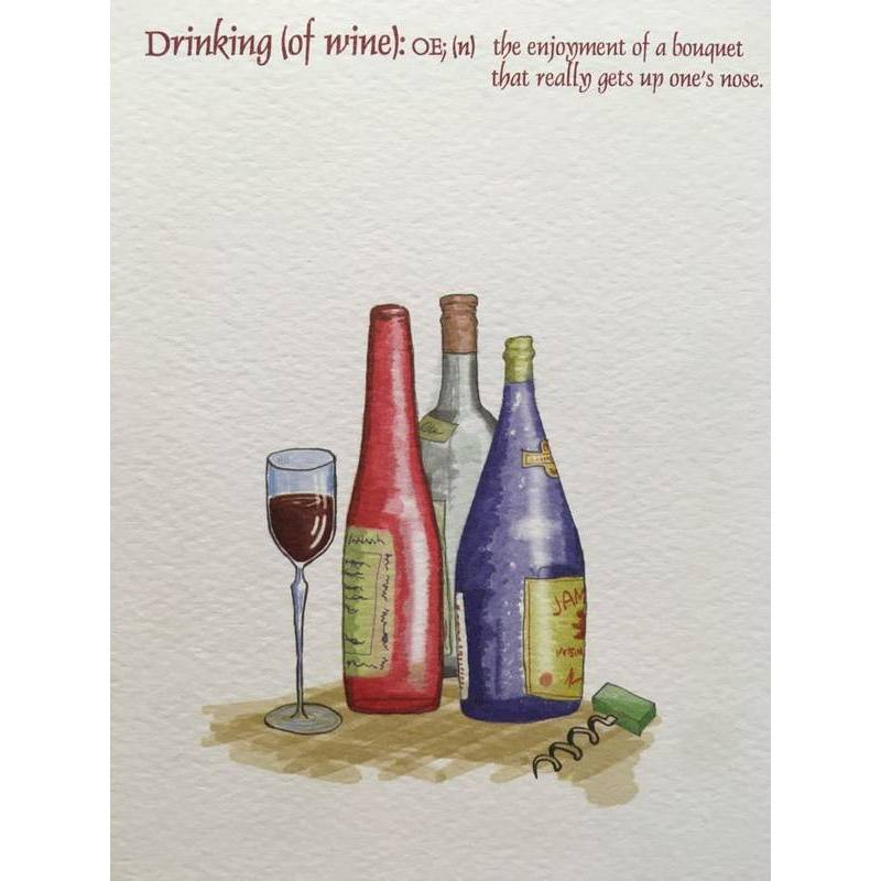 GREETING CARD - DRINKING OF WINE