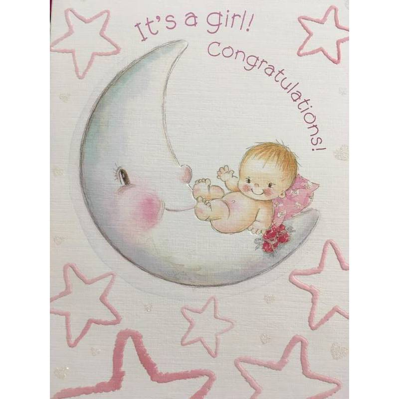 GREETING CARD - IT'S A GIRL CONGRATULATIONS