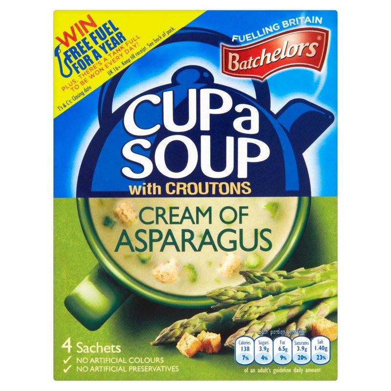 BATCHELORS CUP A SOUP ASPARAGUS 4 SACHETS 117G