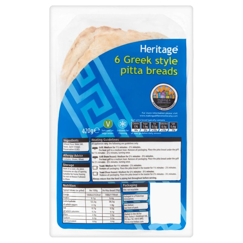 HERITAGE GREEK STYLE PITTA 6PACK 420G