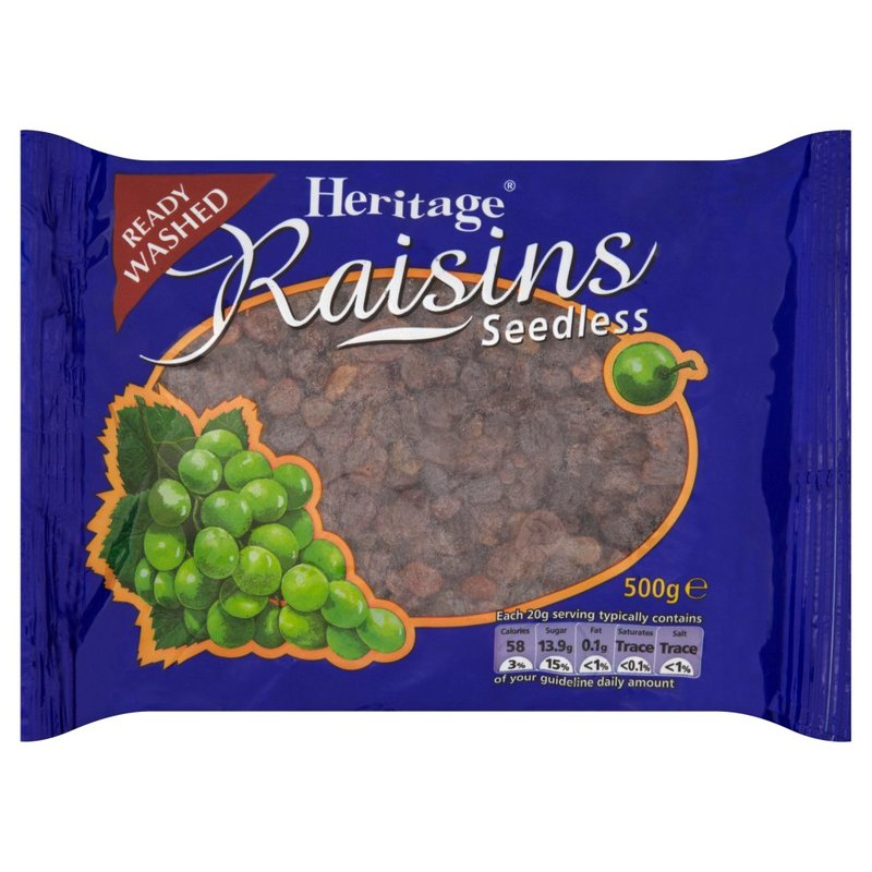 HERITAGE READY WASHED RAISINS SEEDLESS 500G