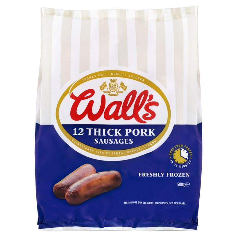 WALL'S 12 THICK PORK SAUSAGES 500G