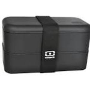 MONBENTO DOUBLE RECTANGULAR BLACK