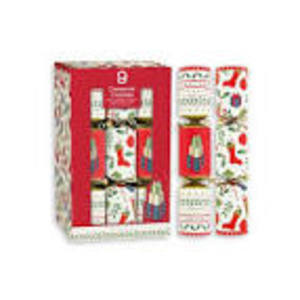 RED & WHITE CHRISTMAS CRACKERS 9 PACK