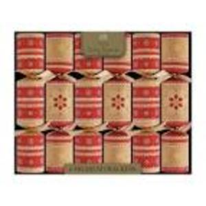 CHRISTMAS - KRAFT WIDE BEIGE & RED CRACKERS (6)