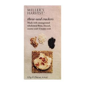 MILLER'S HARVEST 3 SEED CRACKERS 125G best by 06/2018