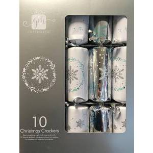 CHRISTMAS - SILVER & WHITE CRACKERS (10)