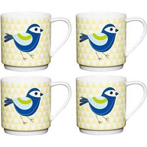 KITCHENCRAFT YELLOW PYRAMID BIRD STACKING MUG