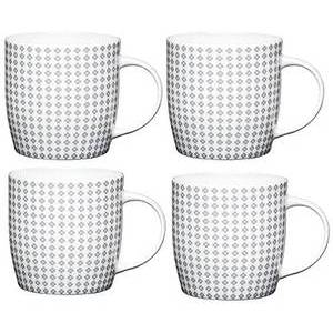 KitchenCraft Fine Bone China Grey Flower Scandinavian-Patterned Barrel Mug