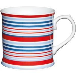 KitchenCraft Fine Porcelain Red and Blue Stripes Mug