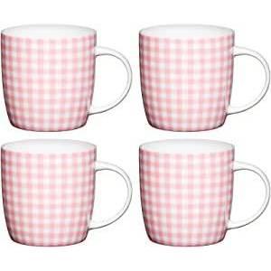 Kitchen Craft Pink Gingham Bone China Barrel Mug