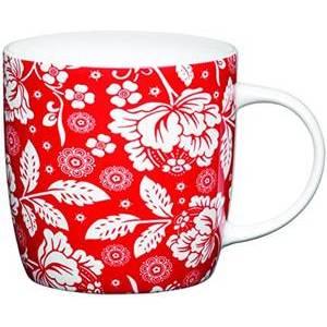KitchenCraft Fine Bone China Red and White Barrel Mug