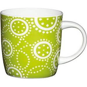 Kitchen Craft Fine Bone China Green Circles Barrel Mug