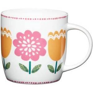 KitchenCraft Folky Floral China Folky Barrel Mug (Large Flowers)