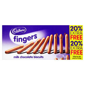CADBURY MILK CHOCOLATE FINGERS 125G