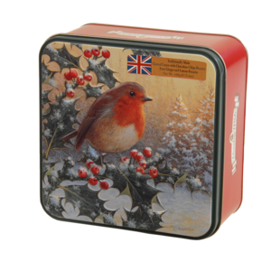 GRANDMA WILD'S ROBIN & HOLLY TIN WITH MIXED BISCUITS 160g