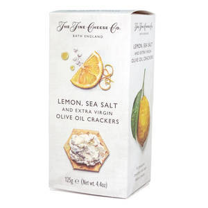 THE FINE CHEESE CO. LEMON, SEA SALT AND EXTRA VIRGIN OLIVE OIL CRACKERS 125G