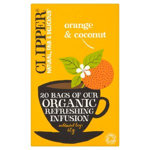 CLIPPER ORGANIC ORANGE & COCONUT 20 TEABAGS best by 01/10/2019