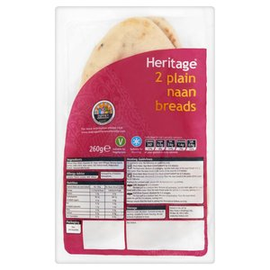 HERITAGE NAAN BREAD (2) 260G best by 26/11/2017